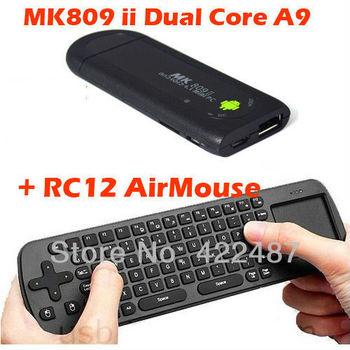 MK809 II Android 4.1 Mini PC TV Box Rockchip RK3066 1.6G Dual core 1GB RAM Bluetooth MK809II TV Stick MK 809  + RC12 Air mouse