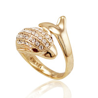 dolphin ring finger ring female vintage rose gold jewelry