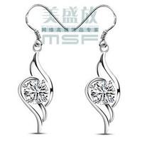 Free shipping wholesale jewelry female 925 sterling silver & AAA zircon & platium plated drop earrings 1pair/lot