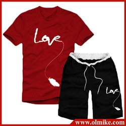 2013 Summer Mens fashion t shirt casual Short sleeve t shirt + sports shorts set, Male casual short pants suit Asia S-XXL C289(China (Mainland))