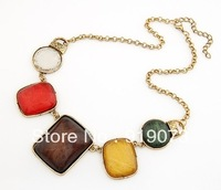 Min order. $10 Square fashion geometry elegant chunky design necklace multi colors resin necklace Free shipping