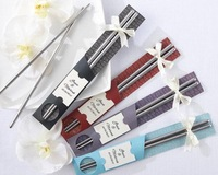 EMS Free Shipping~~100 pairs East Meets West Stainless-Steel Chopsticks wedding Favors gift