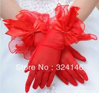 New design flower side Bridal gloves Wedding Gloves finger red  gloves mesh/ tulle lace gloves