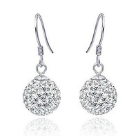 Free shipping fashion ball 925 sterling silver & AAA swiss diamond & platinum plated female drop earrings wholesale