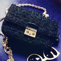 Free shipping New arrival Fashion bag women's handbag rough black woolen chain bag lady bag small bag