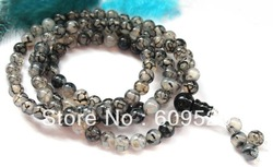 Tibetan 6mm 108 Black Dragon Vein Stone Mala Necklace/Bracelet/Prayer Beads(China (Mainland))