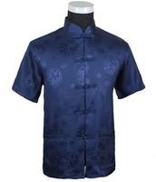 Navy Blue New Summer Chinese Men's Silk Satin Kungfu Shirt Coat top S M L XL XXL XXXL M2066