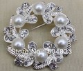 Min.order is $10 (mix order)Rhodium Silver Color Cream Imitation Pearl and Rhinestone Crystal Bridal Brooch