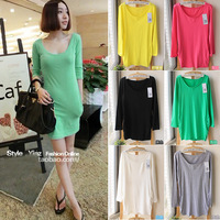 Free Shipping Spring candy color o-neck long-sleeve sexy slim medium-long basic shirt causl dress(7Colors+Average)130411#6