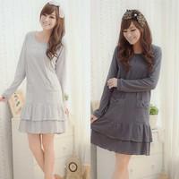 puerperal fashion lounge nursing loading cotton dress pr3567 100% cotton top