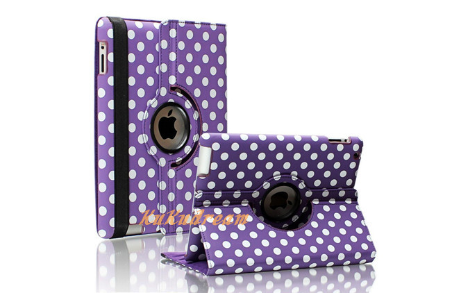 Purple Polka Dot Pattern PU Leather Case Smart Cover With 360 Degrees Rotating Stand Supports Auto Sleep/Wake for iPad 2 3 4(China (Mainland))