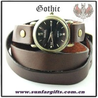 Brown Gothic SKULL leather wide strap Quartz Watch +Freeshipping