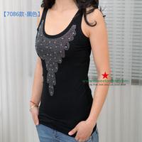 T-378 solid color diamond small modal vest 100% cotton small vest spaghetti strap top