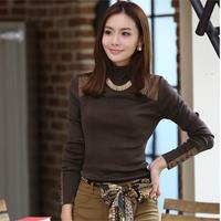 Spring and autumn slim patchwork cloth all-match turtleneck long-sleeve basic T-shirt basic shirt female