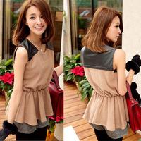 Summer elegant o-neck slim waist pleated faux leather patchwork sleeveless patchwork vest t-shirt female short-sleeve