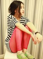 18 variable women's candy color all-match transparent sense of vertical stripe legging 107