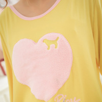 Free ShippingSpring peach heart long section of Japan and South Korea female, wholesale pajamas PINK love puppies sheep cotton v
