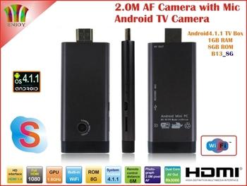 New! 2.0MP Camera and Mic B13 Android 4.1.1 TV Box Rk3066 Dual Core WiFi Antenna 1GB/8GB Skype AV Output [MK806II] Free Shipping
