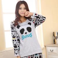 Free ShippingWholesale pajamas 2013 new spring long-sleeved female models cute cartoon treasure panda comfortable tracksuit 3052