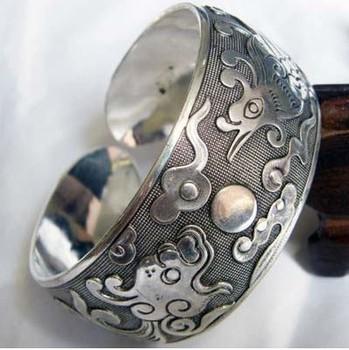 tibet silver Simple carved dragon phoenix bracelet
