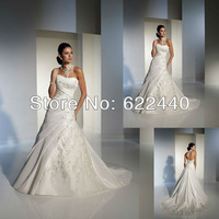 Custom-made Satin A-line Applique Designer Bridal Wedding Dress With Chapel Train Free Shipping