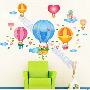 Free shipping DIY Fire Balloo Cartoon Room Wallpaper Environmental 45*60cm PVC Removable Decal Kid bedroom Wall Stickers(China (Mainland))
