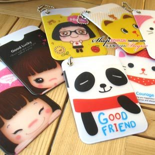 mix order(min 15$)free shipping 818 cartoon lanyards double faced card case testificate set bus card sets(China (Mainland))