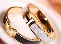 Free Shipping Classic H letter Enamel Rose Gold Bracelet Titanium Steel Jewelry Does Not Fade Multicolor Bracelet
