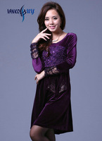 High quality 2013 new ladies dress velvet o-neck purple skirts casual dresses with bow knee-length full sleeve autumn & winter
