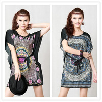 Free shipping 2013 spring and summer viscose one-piece dress mm plus size loose casual women's batwing shirt