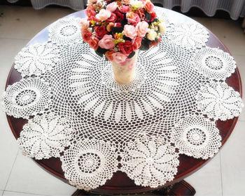 Vintage  Round Ecru  Crochet Tablecloth Doliy    85CM(34 Inch)  ROUND