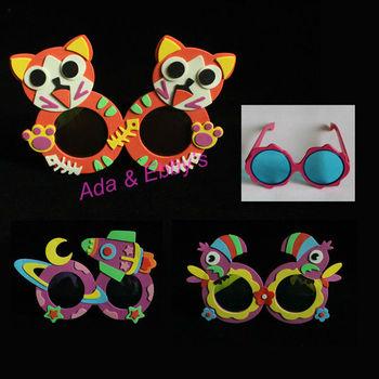 Free Shipping Eva Plastic Handmade Cartoon Kids Eyewears, DIY 3D Sticker Animal Child Glasses, Kids Toys,Party Gifts, 20 Designs