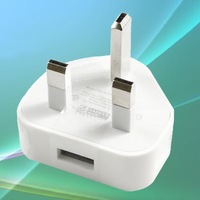UK Plug 3-pin AC to USB Power Adapter Charger For Apple iPhone 4 4S 4G iPod