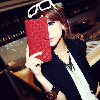 2013 full sheepskin slim classic plaid women's clutch wallet zipper women's handbag g-074 wholesale