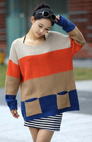 Free shipping Plus size autumn Women sweater 2012 loose large fashion long-sleeve sweater plus size sweater