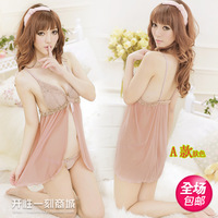 Adult sexy short skirt open-crotch the temptation of uniforms women's transparent sleepwear milk full dress set