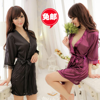 Black viscose plus size transparent sexy sleepwear kimono women's robe set temptation