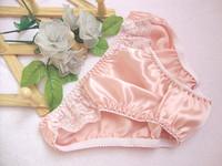 Powder Red Female Silk Silk Panties Lace Panties Sexy Briefs Free Shipping