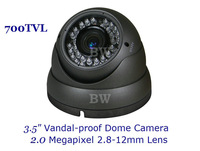 "Free shipping 1/3"" Sony CCD EFFIO-E 700TVLine IR Vandal-proof CCTV Dome Camera With 2.0 Megapixel 2.8-12mm Lens,30M Night Vision"