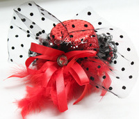 10 Color Punk Top Hat with Feathers and Crystal Centerpiece -Fascinator Burlesque Moulin headdress 12 pieces/lot