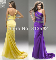 Free Shipping Sexy One-Shoulder Chiffon Beading Prom Pageant Dress Evening Party Dresses Custom Size/Color Wholesale/Retail