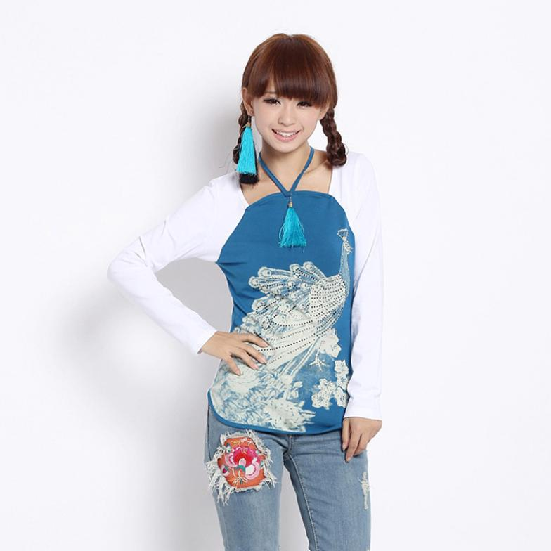 2012 winter print tile long-sleeve T-shirt female 6320 peacock(China (Mainland))