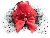 lady women mini top hat cap feather bowknot lace fascinator hair clip rhinestone 12pcs/lot
