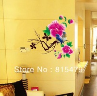 Wholesale Eco-friendly Wall Stickers Love Bird On The Flower Branch Decoration PVC Wallpaper Mural Decals Decor Home Removable