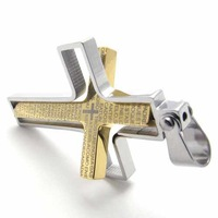 Free Shipping Fashion Jewelry Gold Cross Lection in Silver Frame Pendant 316L Stainless Steel Necklace Necklaces 20467