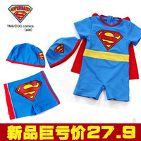 Super man male child swim trunks swimwear child one-piece swimsuit hot springs swimming trunks baby sunscreen one piece swimming