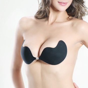 Women Self-Adhesive Push Up Silicone Bust Front Closure Strapless Invisible Bra bra silicone	 Free Shipping