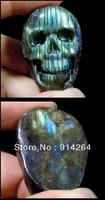 carved skull natural Labradorite Gemstonestone no hole k5451
