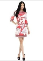 EMS/DHL Free Shipping 2013 Spring New Arrival Hart Sleeve Pink Printed Pattern Jersey Dress