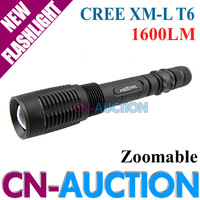 FREE SHIPPING! Trustfire Z5 Flashlight Black Zoomable CREE XM-L T6 LED Flashlight 7-Mode 1600 Lumen Adjustable Torch (CN-Z5-B01)
